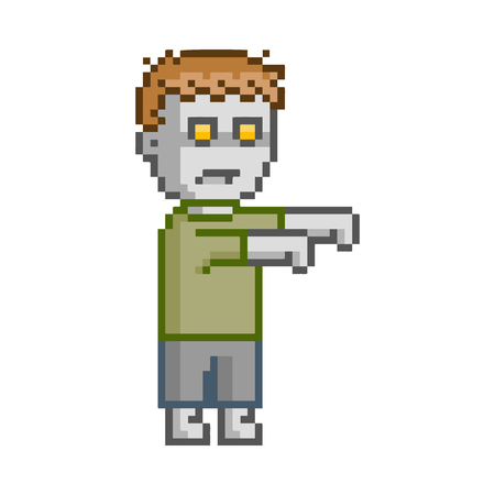 users video: Vector pixel art set zombie for game and design Illustration
