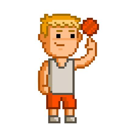 users video: Vector pixel art basketball on white background. Illustration