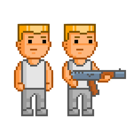 armed: Vector pixel art armed soldier on white background