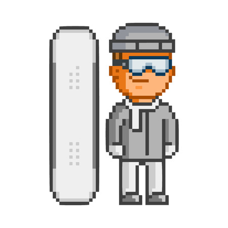 users video: Vector pixel art snowboarder and snowboard on white background. Illustration