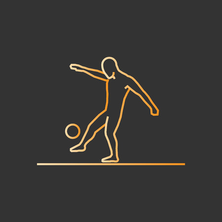 Gold line soccer icon. Vector silhouette of soccer player.