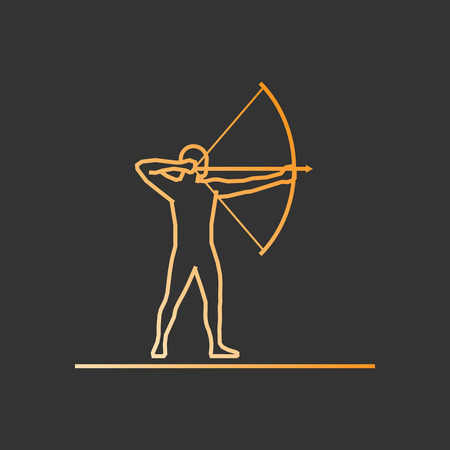 active arrow: Gold line archery icon. Vector silhouette of archer.