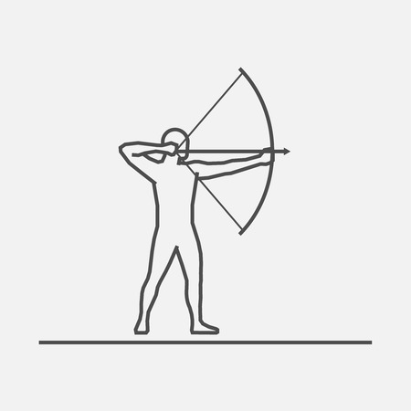 shooting at goal: Cool line archery icon. Vector silhouette of archer. Modern outline archery logo.
