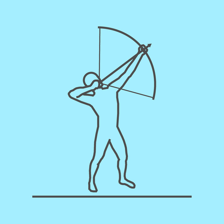 active arrow: Cool line archery icon. Vector silhouette of archer. Modern outline archery logo.