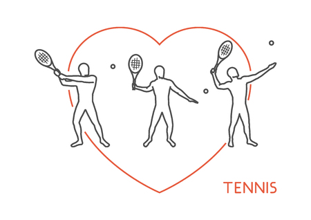 heart health: Line vector logo for tennis. Open path. Outline figure tennis player. Illustration