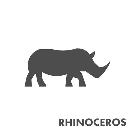 rhino vector: Black vector figure of rhino. Vector african animal for web and design.