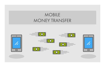 money transfer: Vector line icon mobile money transfer. Business symbol, logo and banner.