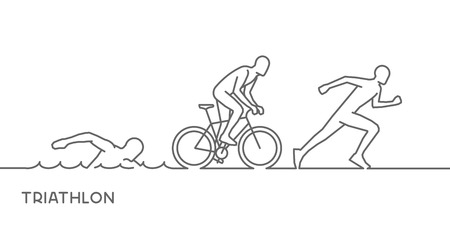 gold line logo triathlon. Figures triathletes on white background. Swimming, cycling and running symbol.