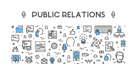 relation: Line web concept for public relations.  banner for pr. Open path. Illustration