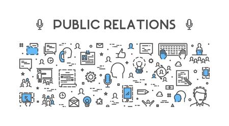Line-Web-Konzept für die Öffentlichkeitsarbeit. Banner für pr. Öffnen Sie Pfad.