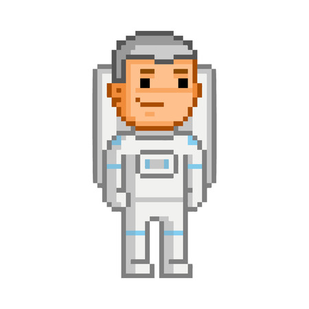 users video: pixel art astronaut on white background. Illustration
