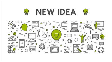banner de web de concepto de diseño de línea para nueva idea. Esquema moderno banner horizontal para la gran idea. Línea concepto de estilo creativo para web.