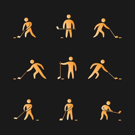 hockey player: Silhouettes of figures hockey player icons set. Hockey  symbols.