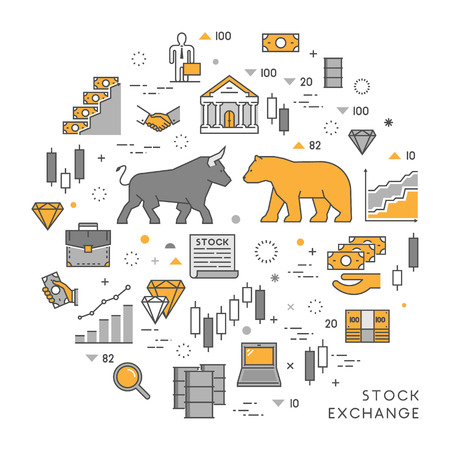 management concept: line concept stock exchange. Linear symbol commodity exchange. Modern banner stock market.