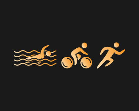 triathlete: Triathlon logo and icon. Swimming, cycling and running symbols. Gold figures triathlete. Illustration