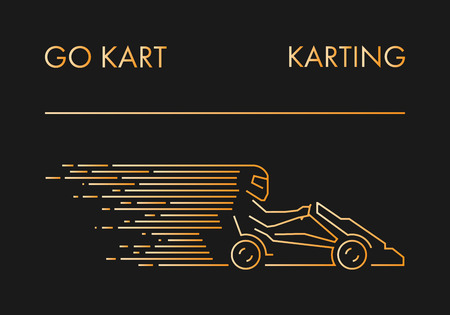 karting: line karting logo and icon. Linear go kart symbol and label.