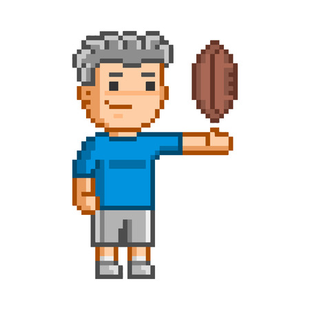 8 ball: Vector 8-bit pixel art  rugby on white background. Illustration