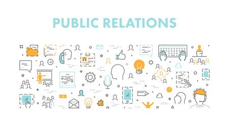 Lijnwebconcept voor public relations. Vector banner voor pr. Open pad.