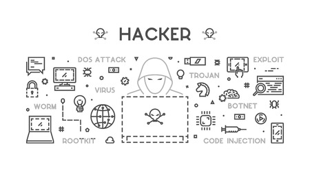 exploit: Concept of hacking and cyber crimes. Vector hacker and internet crime. Open path.