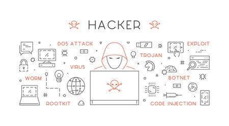 dos: Concept of hacking and cyber crimes. Vector hacker and internet crime. Open path.
