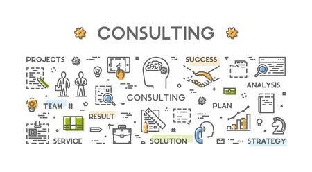 Line concept voor consulting. Vector lineaire symbool voor zakelijk overleg. Open pad.
