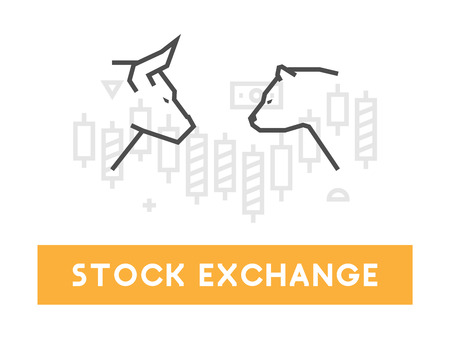 Vector symbol for stock market and stock exchange. Modern bull and bear icon for Wall Street. for online trading.