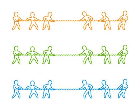 Vektor dünne Linie Tauziehen Logo und Symbol. Lineare Figuren Menschen.