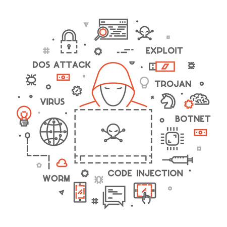rootkit: Concept of hacking and cyber crimes. Vector hacker and internet crime. Open path.