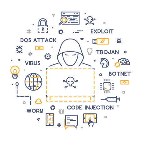 Concept of hacking and cyber crimes. Vector hacker and internet crime. Vector conceptual line illustrations cyber attack. Open path. Illustration