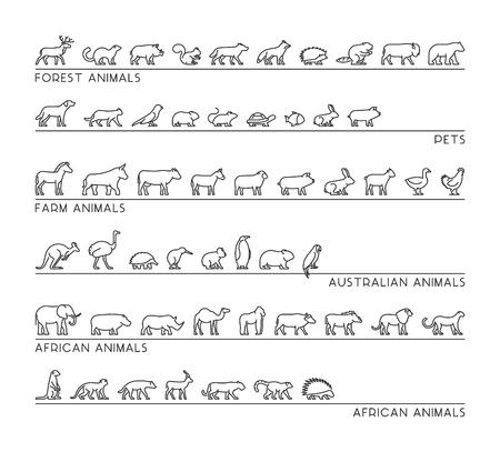 Vector lijn set van silhouetten huisdieren, bos en boerderijdieren. Lineaire icon Afrikaanse en Australische dieren. Open pad.
