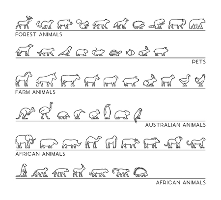 Vector line set of silhouettes pets, forest and farm animals. Linear icon african and australian animals. Open path.