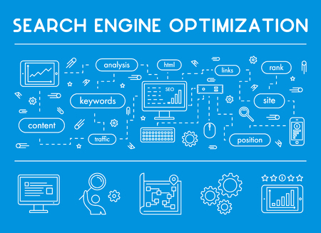 Vector line concept banner for search engine optimization. Web linear horizontal banner for seo. Çizim