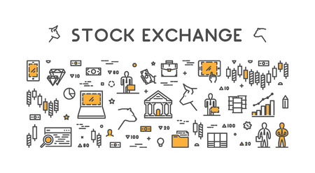Vector symbol for stock market and stock exchange. Modern bull and bear icon for Wall Street.