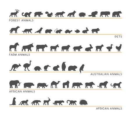 australian animals: Vector black set of silhouettes pets, forest and farm animals. Icon african and australian animals. Illustration