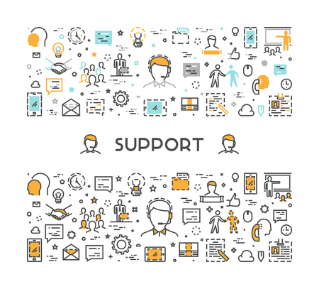 web concepto de líneas de vector de apoyo. servicio de bandera lineal moderno y mesa de ayuda. Ilustración de vector