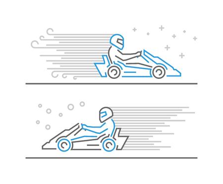 karting: Vector line go kart symbol and icon. Modern outline karting logo.
