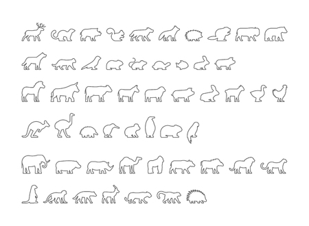 Vector black set of outline silhouettes pets, forest and farm animals. Icon african and australian animals.