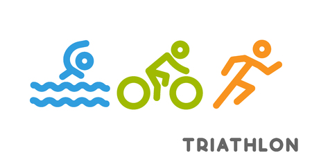 Line logo triathlon. Figures triathletes on white background. Swimming, cycling and running symbol. Illustration