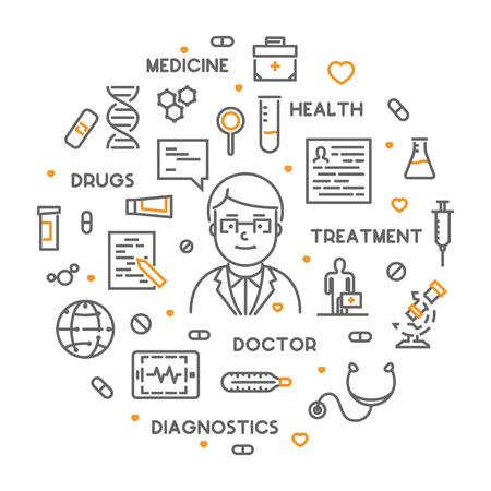 Vector line web concept online doctor. Linear banner online consultation. Illustration