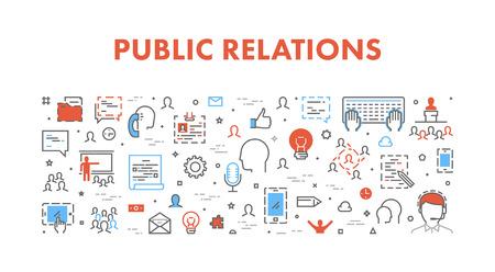 relaciones publicas: web concepto de línea para las relaciones públicas. Bandera del vector fresco para pr. Vectores