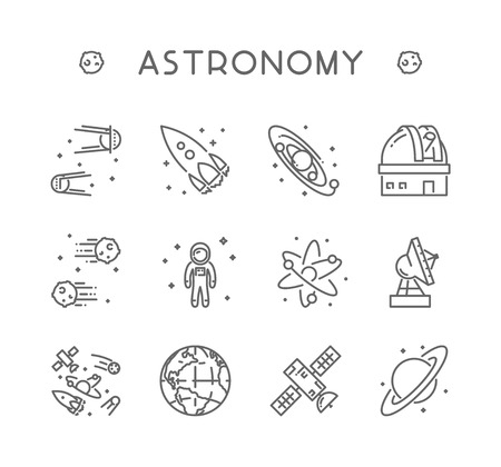 Vector Line Icon Set For Astronomy Linear Web Symbol For Space