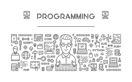 Vector line web concept for programming. Modern linear banner. Vektorové ilustrace