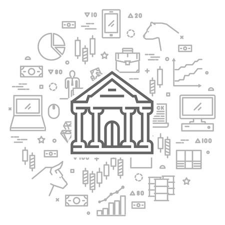 stock exchange brokers: Vector line concept for commodity exchange. Round banner of stock market.