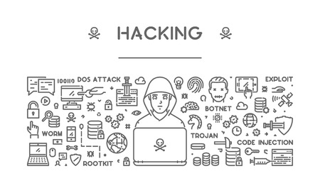 line concept of hacking. Modern linear .