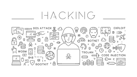 Linear isolated web of hacking. Modern line background. Stock Photo