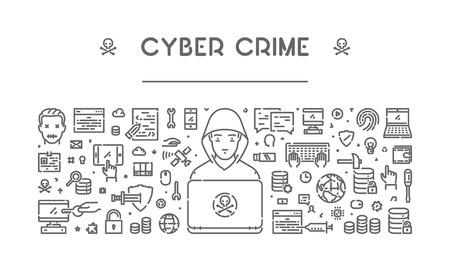 Line web for cyber crime. Modern linear concept for hacking. Illustration