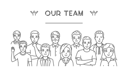 our: line concept of our team. Modern linear .