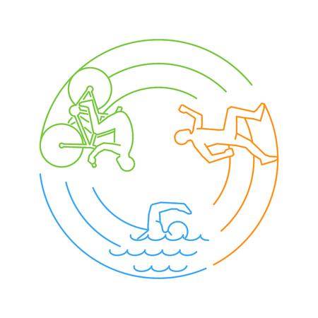 Vector line web concept for triathlon. Linear triathlete. Open path.
