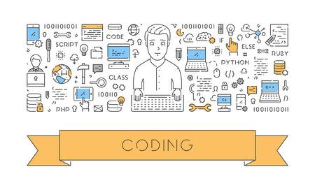 Creative illustration of a web banner for coding. Modern linear concept for programming. Vektorové ilustrace
