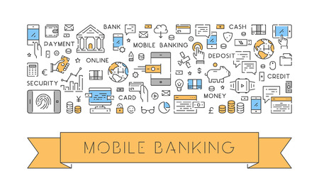 transfers: Creative illustration of a banner for mobile banking. Modern linear concept for mobile payments.